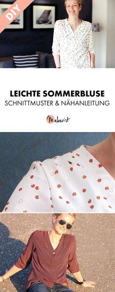 Leichte Sommerbluse mit echter oder falscher Knopfleiste - Nähanleitung und Schnittmuster via Makerist.de
