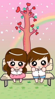 Chibi Couple, Cute Couple Cartoon, Cute Cartoon Girl, Cute Girl Wallpaper, Kawaii Wallpaper, Cartoon Wallpaper, Valentine Cartoon, Korean Anime, Cute Gif