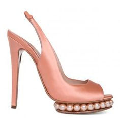 peach satin heels with pearls....OMG, I just don't know what to say!