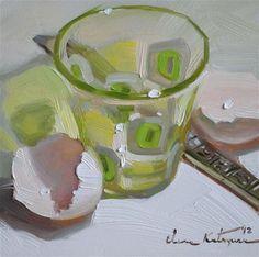 """Green Squares"" - Original Fine Art for Sale - © by Elena Katsyura"