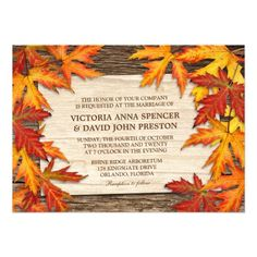 Colorful Autumn Leaves On Wood  l  Fall Wedding Invitation #Fall #Wedding #Invitation #WeddingInvitations