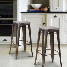 Vintage Copper Metal Bar Stools With Wooden Seat (Set Of Two)