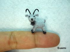 Miniature Beige Goat - Teeny Tiny Crocheted Goats - Made To Order