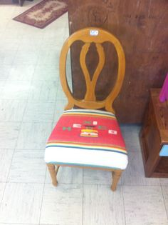 Chair with blanket cut to fit with Mexico  On it   Can be found at  What Workz  5430 Columbus ave  Anderson, In   Www.facebook.com/whatworkz