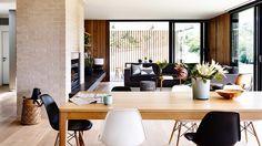 open plan dining living black white timber McKimm home oct15
