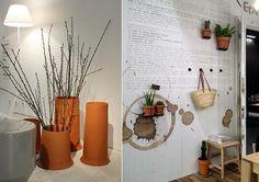 Flower pots on wall