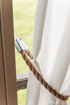 Diy Patio Curtain Tie Backs For 5 00 Rustic Nautical-Diy Nautical Rope Curtain Tie Backs Outside Curtains, Outdoor Curtains For Patio, Porch Curtains, Patio Diy, Outdoor Swings, Diy Porch, Bedroom Curtains, Outdoor Pergola, Pergola Ideas