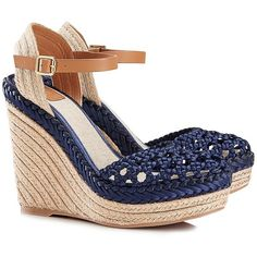 Tory Burch Solemar Sandal Wedges ($245) found on Polyvore featuring shoes, sandals, navy blue, ankle wrap wedge sandals, bohemian sandals, closed toe wedge espadrilles, ankle wrap sandals and tory burch espadrilles
