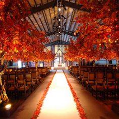 Fall wedding ceremony setting, stunning.