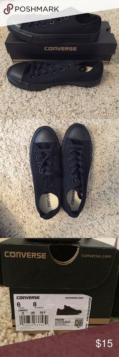 All Black Low top Converse Brand New Low Top Converse (black monochrome) Converse Shoes Sneakers