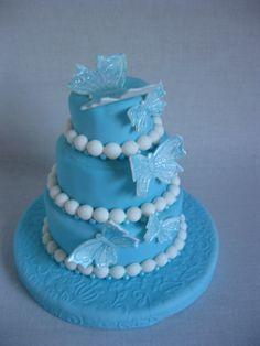#bruidstaart Blauw en vlinders