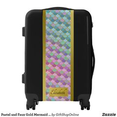 Pastel and Faux Gold Mermaid Scallops Personalized Luggage