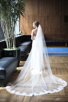 Timeless Cathedral-Length, Lace Trimmed Veil | Nicole Miller | Lovely Bride | Erin Keough Photography