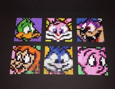 Tiny Toon Adventures Beaded Drink Coasters by ThePixelizedPrincess. Inspired by my favorite 90s cartoon and featuring characters: Plucky Duck, Babs Bunny, Dizzy Devil, Elmyra, Buster Bunny, & Hamton J Pig