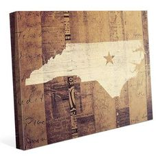 """Click Wall Art 'North Carolina' Graphic Art on Wrapped Canvas Size: 8"""" H x 10"""" W x 0.75"""" D"""