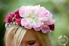 Statement Monochromatic Floral Crown in shades of pink