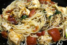 Bruschetta Chicken Pasta  2 chicken breasts  1 lb angel hair pasta  6 medium size plum tomatoes  4 tablespoons olive oil, divided  1/4 teaspoon salt  1/8 teaspoon black pepper  2 minced garlic cloves  10 fresh basil leaves  2 garlic cloves, sliced into thin coins  1/2 cup tomato sauce  1 cup balsamic vinegar  1 tablespoon granulated sugar