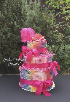 Groovy Tie Dye Diaper Cake