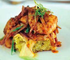 Cornbread with Spiced Sauteed Shrimp