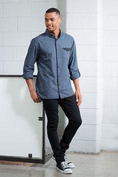 Tarnish Micro Check Shirt, $39.99. Black Jean, $59.99.