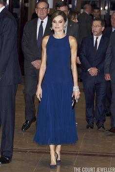 19 October 2017 - King Felipe and Queen Letizia attend the Princess of Asturias Awards Concert in Oviedo - dress by Felipe Varela