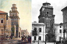 Turnul Coltei, un monument major al Bucurestiului medieval tarziu, dupa Bucharest Romania, My Town, Locomotive, Notre Dame, Building, Memories, Travel, Beautiful, Houses