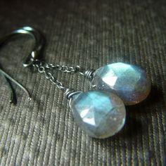 Labradorite Chain Earrings on Oxidized Sterling  by beadstylin