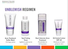 UNBLEMISH Rodan+Fields Dermatologists Clinically proven to combat the entire acne cycle, this sophisticated regimen helps unclog pores, clears acne blemishes and calms your complexion to keep pimples, blackheads and post-acne marks from making an unwelcome appearance on your face—and in your life. Email me... kdemaeyer@gmail.com