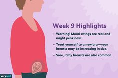 9 Weeks Pregnant Symptoms Baby Development and Mor 9 Weeks Pregnant Symptoms, Nine Weeks Pregnant, Pregnancy First Trimester, Pregnancy Guide, Baby Growth, New Bra, Baby Development, Mood Swings, Baby Bumps