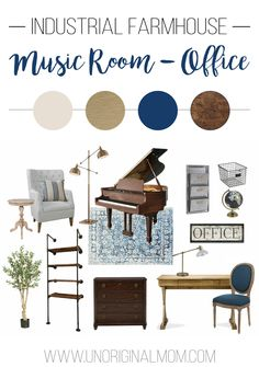 Design plan and mood board for an industrial farmhouse office - music room, incorporating industrial pipe shelves, a farmhouse desk, and more! | industrial farmhouse office | music room | navy and gold mood board
