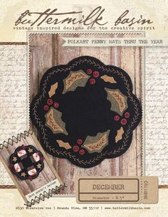 Buttermilk Basin Folkart Penny mats Thru the year December The Pattern Hutch wool applique craft pattern candle holly Christmas