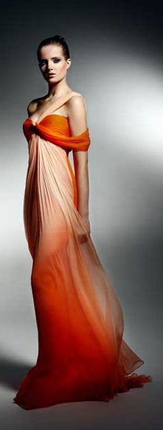 Zuhair Murad, orange ombre flowing off-the-shouder gown Zuhair Murad, Couture Fashion, Runway Fashion, High Fashion, Beautiful Gowns, Beautiful Outfits, Mode Glamour, Casual Chique, Orange Fashion