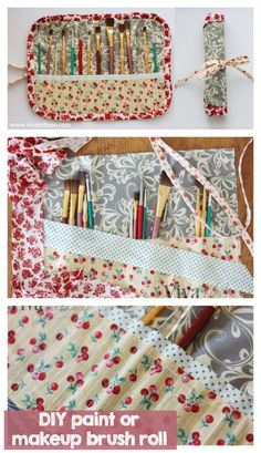 DIY paint or makeup brush roll - super cute and easy to whip up!