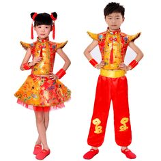 chinese traditional dance costume children dragon kids folk dance costumes modern hanfu for girls lion national for boys