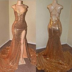 Sexy Gold Sequin Spaghetti-Straps Slit Prom Dresses · Yaydressy · Online Store Powered by Storenvy A-line Prom Dresses,Tulle Prom Dresses,Appliques Prom Dresses Black Girl Prom Dresses, Senior Prom Dresses, Straps Prom Dresses, Gold Prom Dresses, Prom Outfits, Ball Dresses, Girls Dresses, Formal Dresses, Prom Gowns
