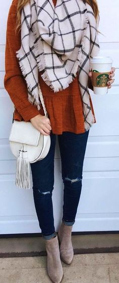 Women's Fashion Outfits For Work Casual. Fall and winter style. #ilymixAccessories Blanket Scarves. #fall #winter #fashion #style #outfits
