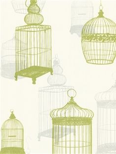 Zinc Wallpaper | Lime Green Birdcages | AmericanBlinds.com