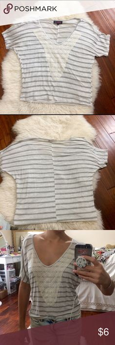 Grey striped top with lace front Lovely top with wide neck that shows off those collar bones! Tops