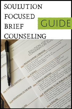 Helpful Solution Focused Counseling Guide great to use for sessions with adults, kids and teens. #solutionfocusedcounseling #SFBT #schoolcounseling