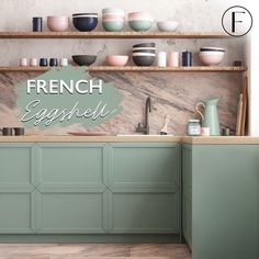 Fusion Mineral Paint is your go to DIY Furniture and Decor Paint All in One. Learn more about Fusion Mineral Paint here! Painting Kitchen Cabinets, Kitchen Paint, Repainting Cabinets, Painted Cupboards, Kitchen Redo, Painted Barn Quilts, French Colors, Green Kitchen, Pastel Kitchen