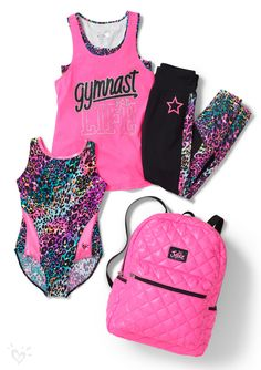 Our printed leos, tops, leggings and accessories are the purrfect gift for the gymnast in your life!