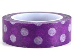 Purple Polka – GetWashi.com - Purple washi tape with purple and white polka dots.  $1.97
