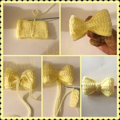 Crochet Bow Pattern - - This pattern is for a thee demensional bow that can be used for all kinds of things' as a hair accessory, cute decoration for a hat, to add extra cuteness to doll clothes, etc. Crochet Bows Free Pattern, Crochet Bow Ties, Crochet Hair Bows, Crochet Hair Accessories, Crochet Flower Patterns, Crochet Hair Styles, Cute Crochet, Crochet Flowers, Crochet Stitches
