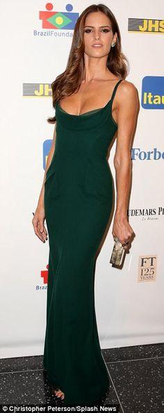 Izabel Goulart, Victoria's Secret Model, in a slinky green gown @ Brazil Foundation 2013 Gala
