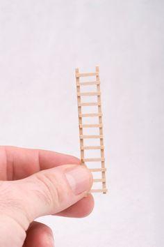 Tiny Little Wooden Miniature Terrarium Or Dollhouse Ladder. $5.00, via Etsy.