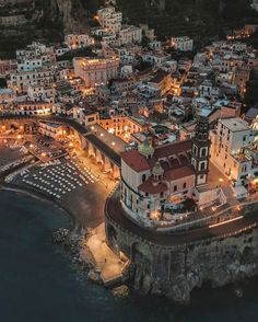 Atrani Amalfi Coast by night, Italy, Europe. Places Around The World, Oh The Places You'll Go, Cool Places To Visit, Places To Travel, Travel Destinations, Dream Vacations, Vacation Spots, Sorrento, Amalfi Coast