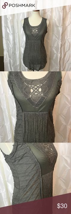 2726d6a4d60 Mur Mur Fringe Tank Charcoal grey tunic tank with crochet and mesh  neckline