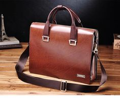 PILAEO Attractive Genuine Mens Leather Business Brown Bag | www.pilaeo.com