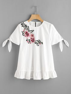 SheIn offers Flower Patch Tie Sleeve Frill Hem Top & more to fit your fashionable needs. Tween Fashion, Moda Fashion, Cute Fashion, Girl Outfits, Cute Outfits, Fashion Outfits, Estilo Abaya, France Outfits, Short Sleeve Collared Shirts