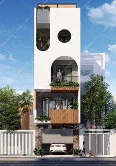 House Front Design, Tiny House Design, Facade Design, Exterior Design, Santorini House, Narrow House Designs, Modern Townhouse, Brick Architecture, House Elevation